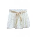 Fashion Women Tie Front Puff Hem Mini Short Shorts