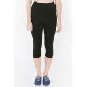 Fashion Women Elastic Waist Yoga Sports Capri Leggings