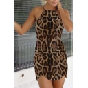 Leopard Spaghetti Straps Sleeveless Bodycon Mini Dress