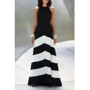 New Elegant A-Line Color Block Criss Cross Back Maxi Dress