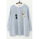 Cat&Button Embellish Round Neck Long Sleeve Striped Loose Blouse