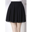 Fashion Women Elastic Waist Chiffon Short Mini Skirt