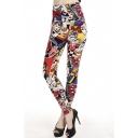 Fashion Women Patterned Print Elastic Waist Leggings