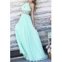 Sweet Halter Sleeveless Plain A-Line Pleated Maxi Dress