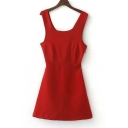 Scoop Neck Sleeveless Plain A-Line Mini Dress