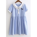 Doll Collar Cute Button Embellish Short Sleeve Smock Dress