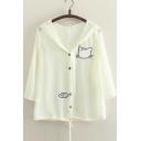 Summer Sun Protection Top Thin Chiffon 3/4 Sleeve Cat&Fish Print Button Down Coat
