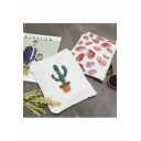 Cute Cactus/Strawberry Zip Detail Canvas Bag