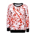 Verisimilar Drop of Blood Print Round Neck Long Sleeve Chic Sweatshirts