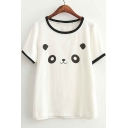 Comfortable Style Round Neck Short Sleeve Graphic Panda Print Tee&Top