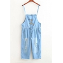 Spaghetti Straps Chic Ripped Loose Crop Denim Overalls