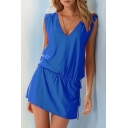 Chic V-Neck Sleeveless Plain Backless Drawstring Waist Mini Dress