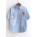 Cute Lapel Button Down Short Sleeve Cartoon Print Top&Shirt