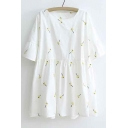 Cute Simple Fasion Round Neck Short Sleeve Linen Loose Blouse Top