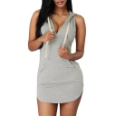 Women Sleeveless V Neck Sweat Hoodie Dress