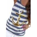 Women's Sleeveless Sequins Anchor Striped Racerback Beach Tank Top