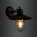 Nautical Style 1 Light 10'' Wide Wall Sconce with Black Metal Shade