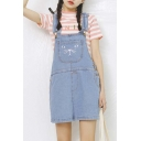 Cute Cat Print Mini Denim Overall Dress