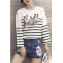 Chic Round Neck Long Sleeve Cat Print Striped Crop Tee