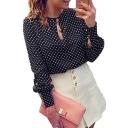 Women Casual Polka Dots Long Sleeve Blouses Chiffon Shirt Tops