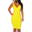 Women's Sleeveless Knee-length Bandage Tight-fitting Dress