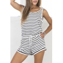 Striped Drawstring Waist Rompers with Pocket