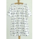 Round Neck Short Sleeve Graphic Cat Print Tee&Top