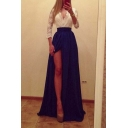 Delicate Design V-Neck 3/4 Sheer Sleeve Color Block Split Front Maxi Dress