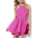 Hot New Release Fashion Ruffle Hem Sweet A-Line Plain Sexy Mini Dress