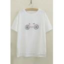 Fashion Short Sleeve Round Neck Bike Embroidery High Low Hem Tee