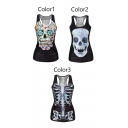 Women's Fashion Skull Flower Death Top Sleeveless T-shirt