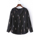 Elegant Long Sleeve Girls Print Button Down Blouse&Shirts