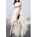 Women's White Floral Print Gauze Panel Multi Layer Sleeveless Hi-lo Dress