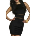 Women's Sweet Elegent Sleeveless Sheer Mesh Bodycon Party Dress