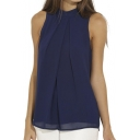 Women Summer Chiffon Sleeveless Blouse Tank Shirt Dark Blue