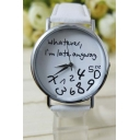 Letter Print Casual Leather Quartz Water Resistance Watch