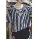 Hot Cactus Pattern Round Neck Short Sleeve Striped Loose Tee