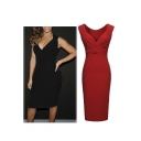 Women's Summer Sleeveless V Neck Business Slim Pleated Pencil Dress
