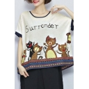 Cute Cat Print Round Neck Short Sleeve Casual Loose Tee