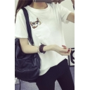 Cute Cat Pocket Short Sleeve Round Neck Tee