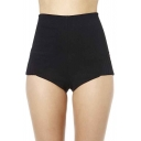 Sexy Plain Elastic Waist Hot Shorts