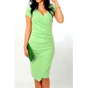 Womens Deep V-Neck Asymmetrical Fold Sheath Dress