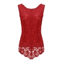 Women's Sleeveless Embroidery Chiffon Lace Tops Vest Shirt Blouse