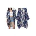 Women Flowy Sheer Crop Sleeves Loose Chiffon Kimono Cardigan Blouse Top
