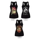 Evil Witch&Death Print Tanks