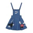 Cute Cartoon Letter Print Denim Overall Dress