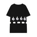 Cute Cartoon Finger Print Short Sleeve T-shirt Dress