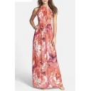 Elegant High Neck Sleeveless Floral Print Maxi Chic Dress
