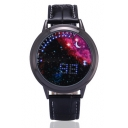 Chic Galaxy Pattern Leather Quartz Water Resistance Watch