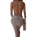 Women's Bandage Spaghetti Strap Bodycon Midi Dresses Party Club